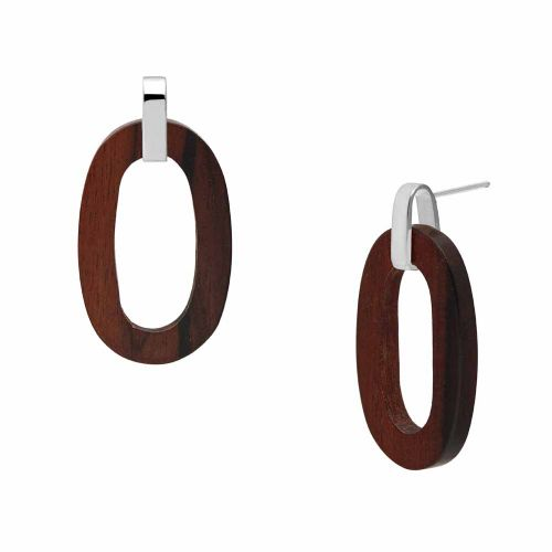 Branch Jewellery Open Oval Earrings in Rosewood and Sterling Silver